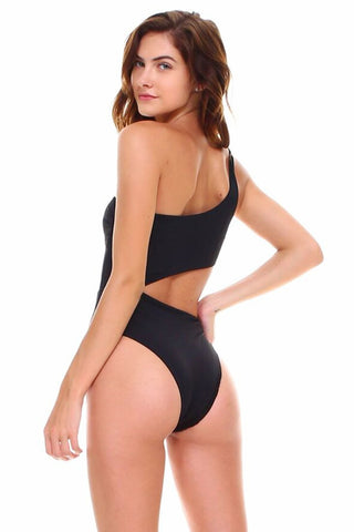 One Shoulder Cutout One-Piece