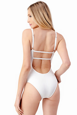 V Neck Ladder Cutout One-Piece