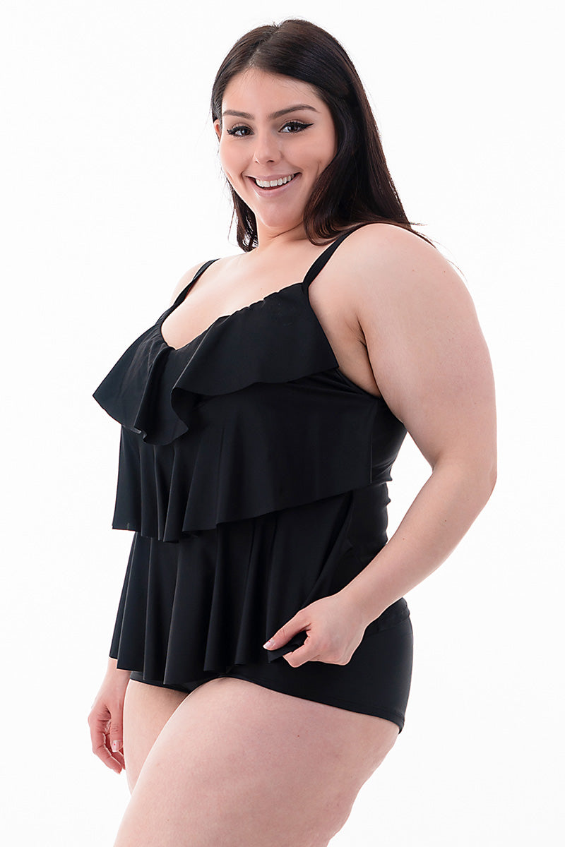 Plus Size Ruffled Front Top