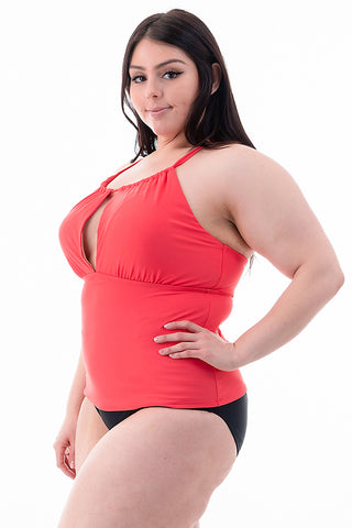Plus Size Halter Swimsuit Top | Front