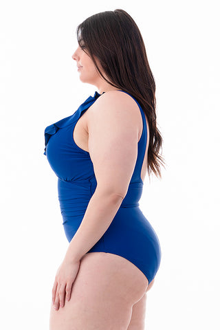 Plus Size Ruffled Chest One Piece | Front