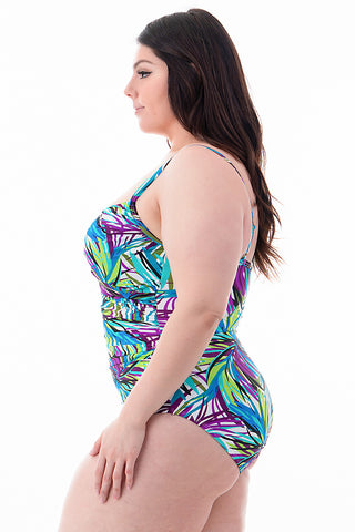 Plus Size Strapped Shoulders One Piece | Front
