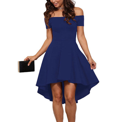 Women Burgundy Blue princess dresses 2018 New summer Off the Shoulder Short Sleeves Knee-length A-Line dress Vestidos