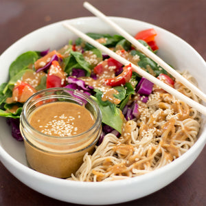 Thai Ramen Salad with Spicy Coconut Almond Dressing