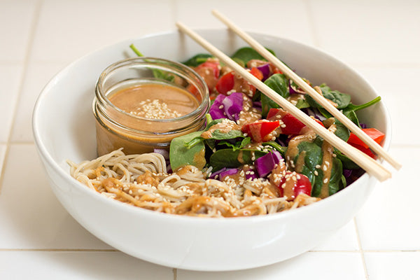 Thai Ramen Salad with Spicy Coconut Almond Dressing - Aloha Spreads