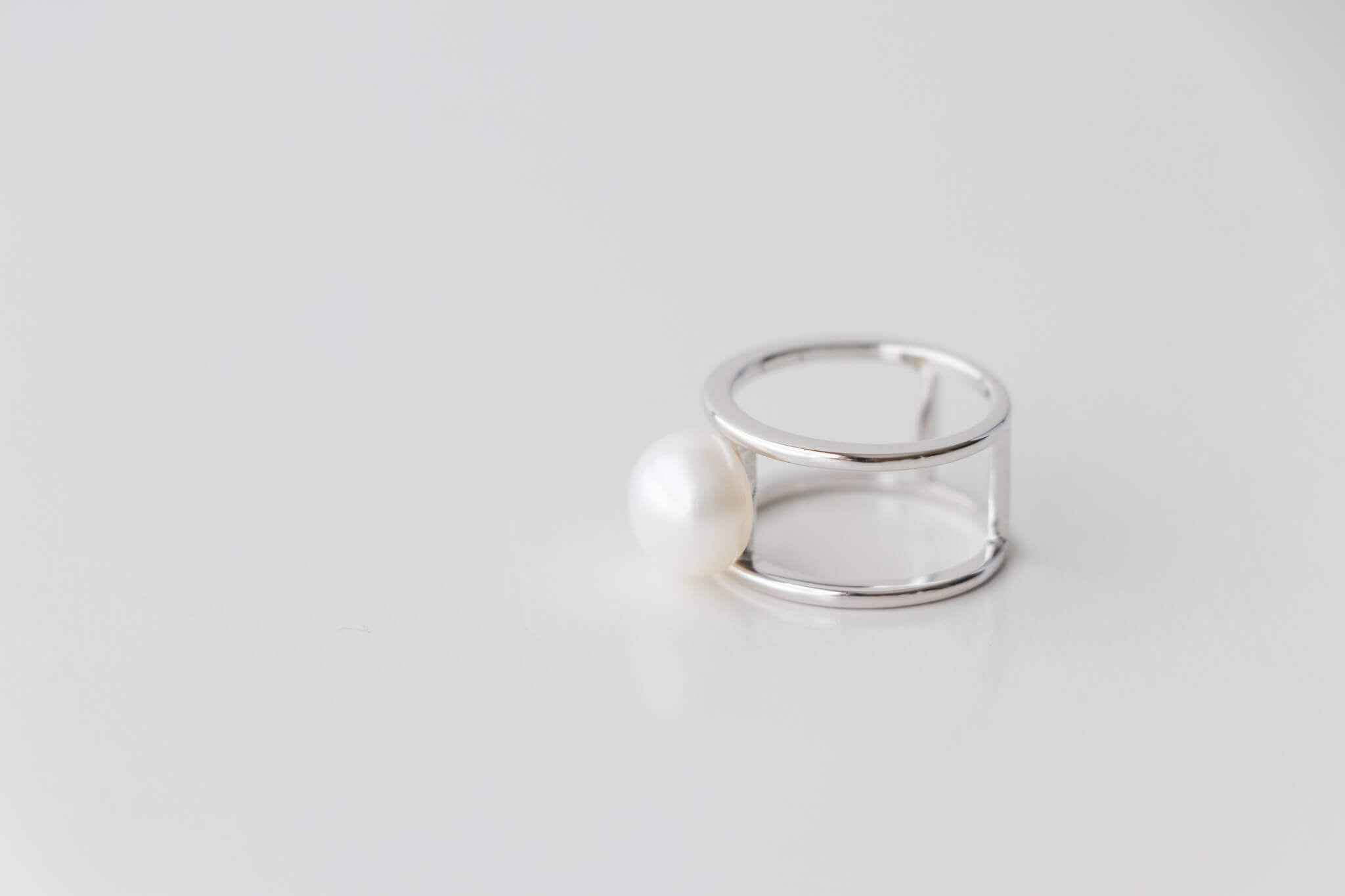 Sterling Silver Double Bar Ring with 9.5mm-10mm White Pearl