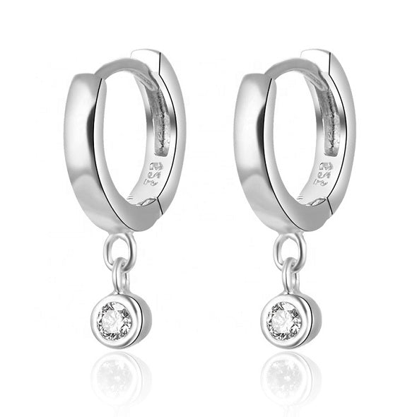 Sterling silver mini hoops with CZ