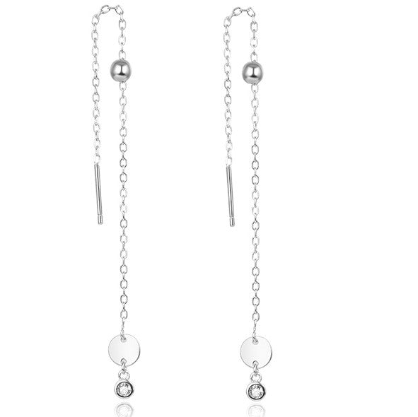 Silver chain earrings with mini disc
