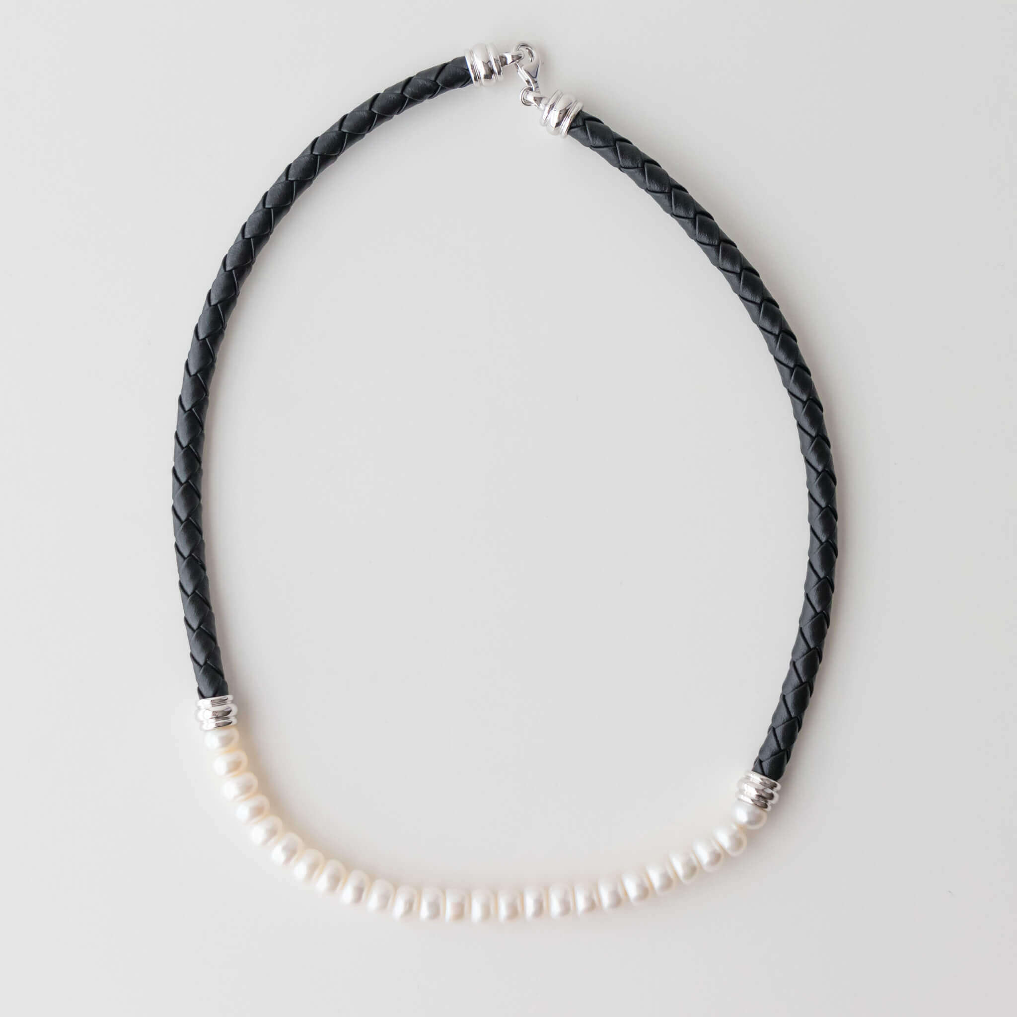Sterling Silver and Italian Leather Necklace with 7-8 mm Freshwater Pearls