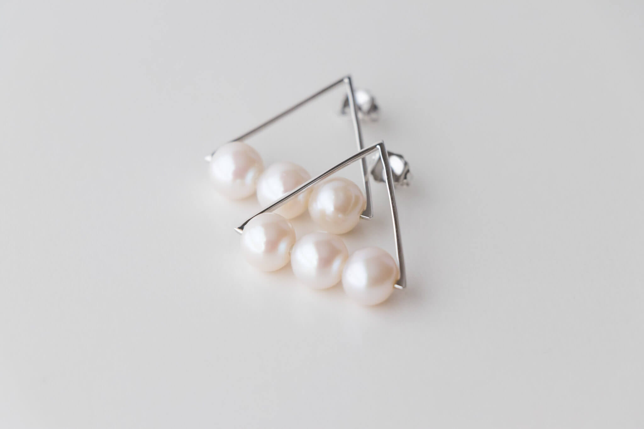 Sterling Silver Triangle Earrings with 7.5-8mm White Freshwater Pearls