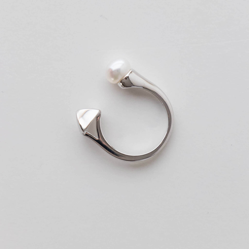 Sterling Silver Open Ring with 6.5-7mm White Freshwater Pearl