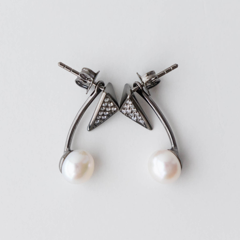 Sterling Silver Black Rhodium Earring Jacket with 7 -7.5mm White Pearl and CZ