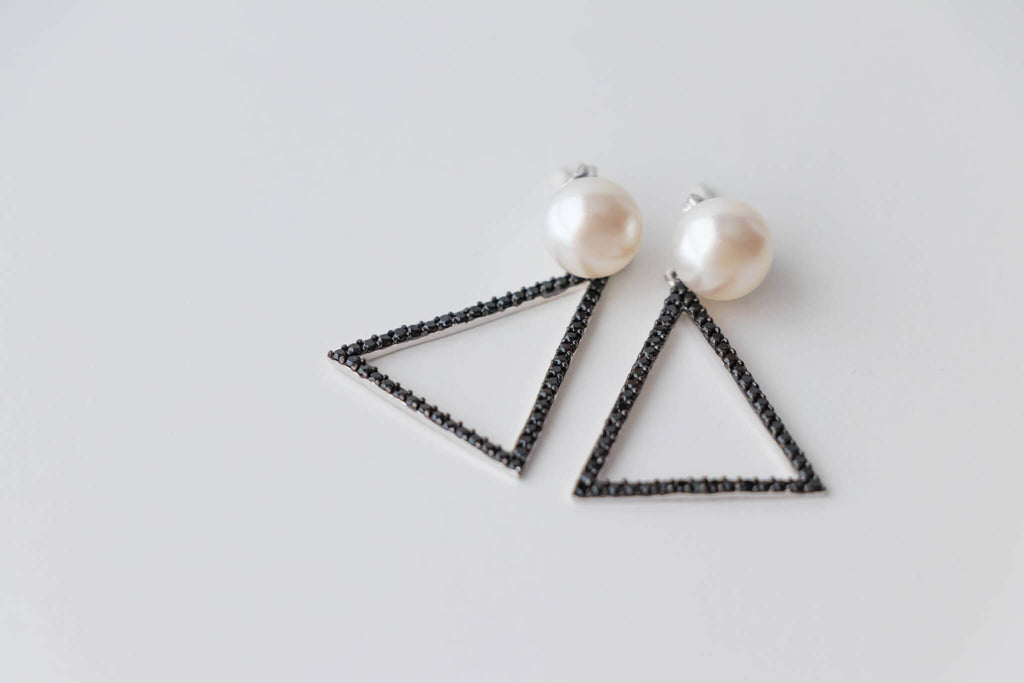 Sterling Silver Triangle Earrings with 9-9.5mm White Freshwater Pearl and Black Spinels