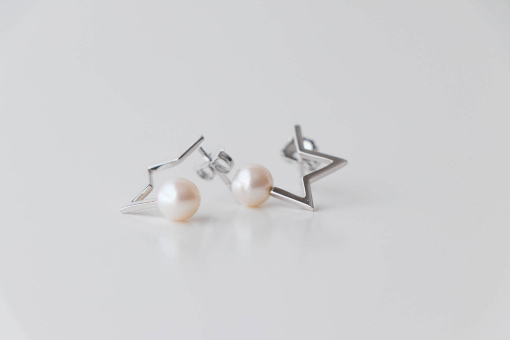 Sterling Silver Half Star Earrings with 6-6.5mm Round Freshwater Pearl