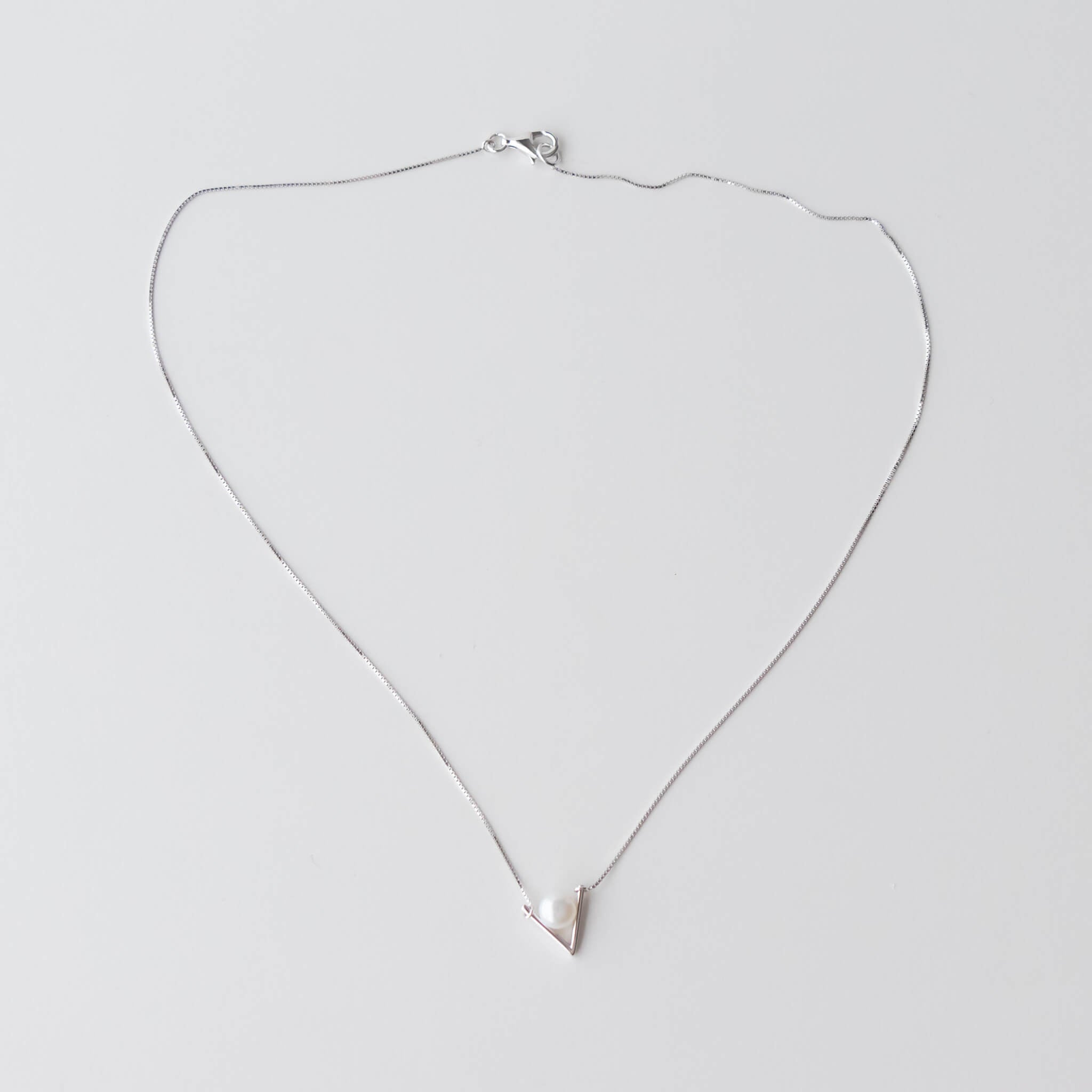 Sterling Silver Minimal Necklace With 6.5-7mm Freshwater Pearl - 45cm