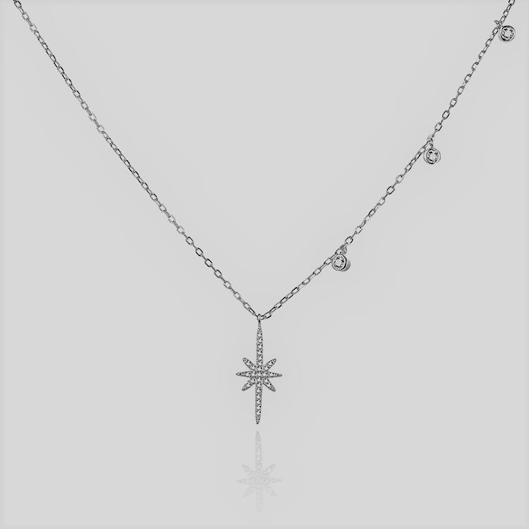 Sterling silver & CZ starburst necklace