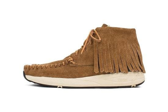 visvim are updating the moc toe shoe with a leather skirt.