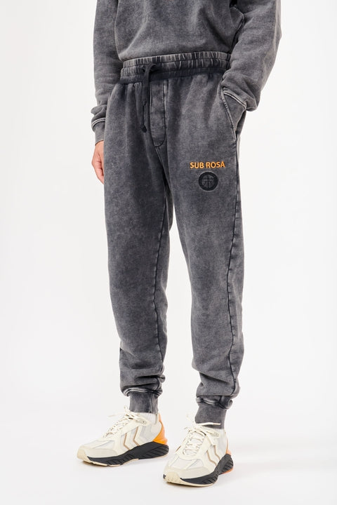 Astrid Andersen-TRACK TROUSER JERSEY STONE WASH-BLACK