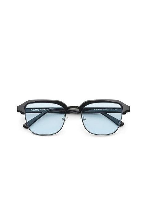 Sunglasses - Continental - Frame Black Metal Lens Blue