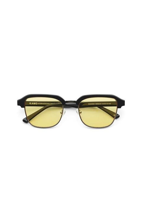 Sunglasses - Continental - Frame Black Metal Lens Yellow