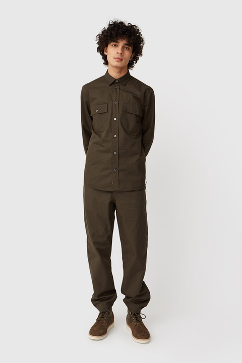 WOOD.WOOD.-STANLEY TROUSERS-DARK ARMY