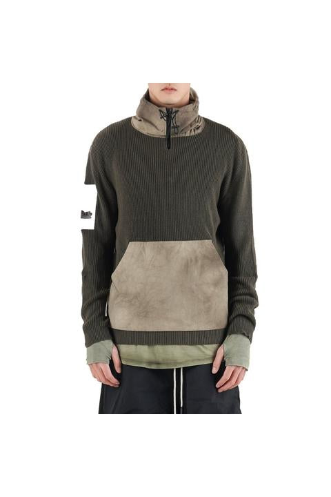 Iso.Poetism - COIL 50/1000 - HOODIE KNIT - OLIVE/SAND