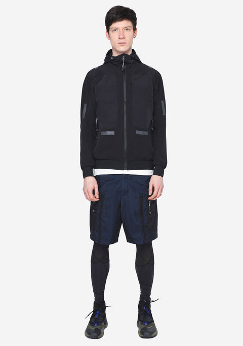 HOODED JACKET - XENON - FABRIC-MIX STRETCHY HOODED JACKET - BLACK
