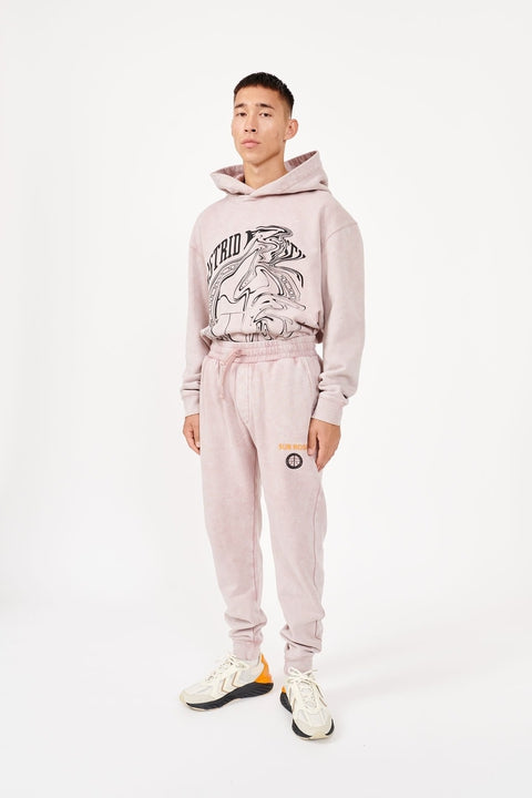 Astrid Andersen-TRACK TROUSER JERSEY STONE WASH-PINK