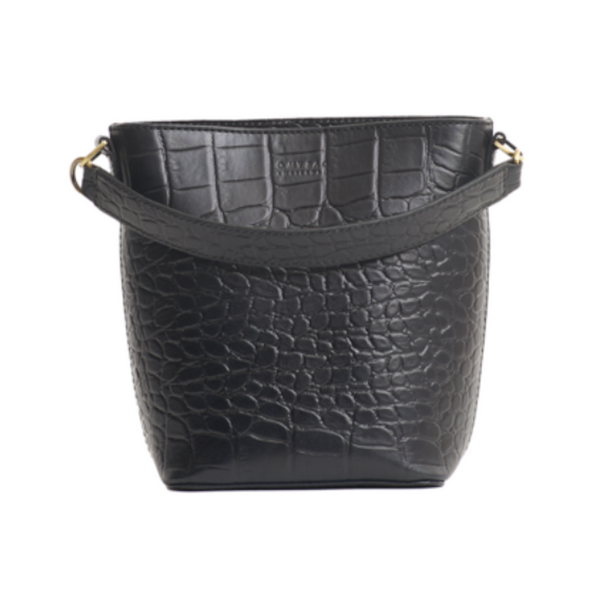 Bobbi Bucket Bag Croco Black Classic Leather