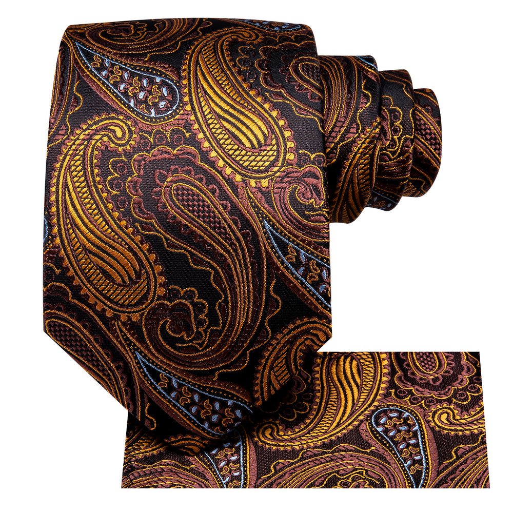 Load image into Gallery viewer, Brown Paisley Necktie Pocket Square Set (1444880449578)