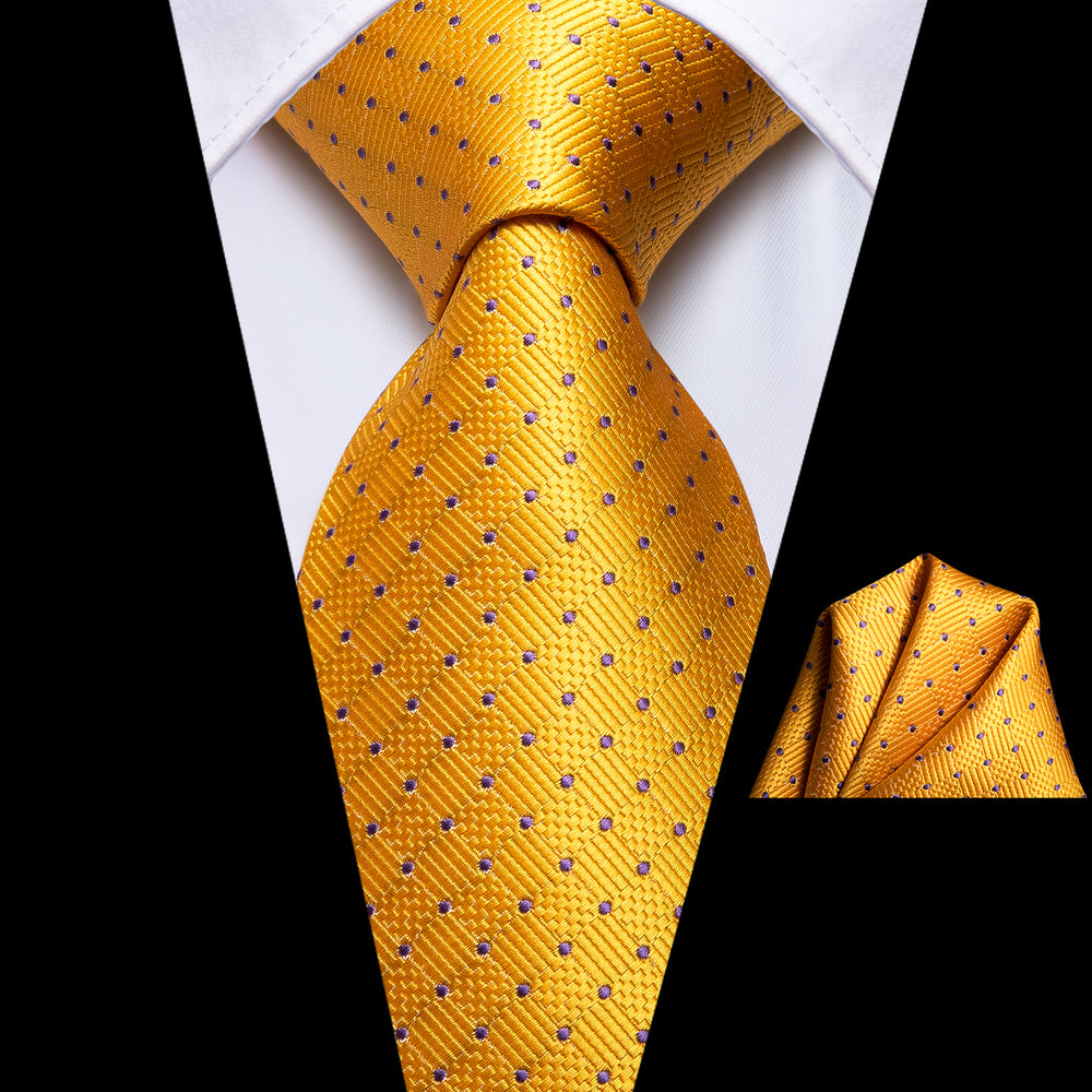 Yellow Polka Dot Necktie Pocket Square Set
