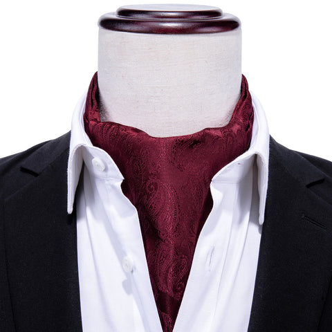 Brown Red Paisley Silk Cravat Woven Ascot Tie Pocket Square Handkerchief Suit Set