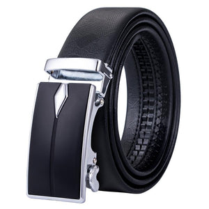 Simple Classic Automatic Buckle Black Leather Belt