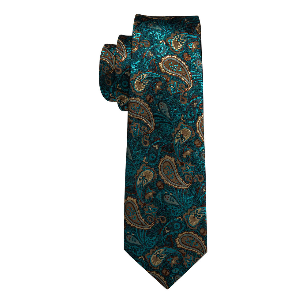 Load image into Gallery viewer, Teal Paisley Tie Men's Silk Necktie Handkerchief Cufflinks Set With Lapel Pin Brooch Set (4665935102033)