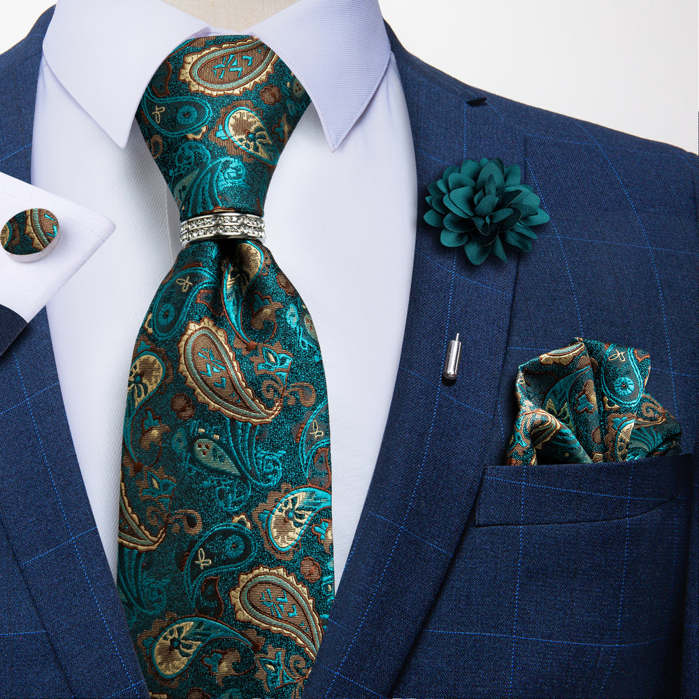 5PCS Brown Green Paisley Tie Pocket Square Cufflinks with Tie Ring Lapel Pin Set