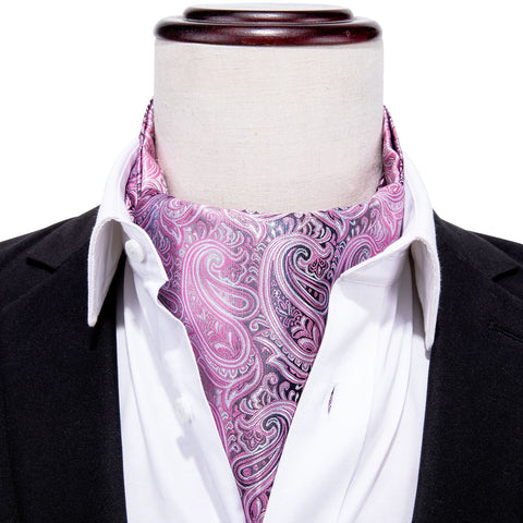 Purple Paisley Silk Cravat Woven Ascot Tie Pocket Square Handkerchief Suit Set