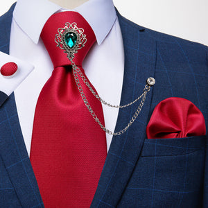 Red Solid Men's Silk Necktie Handkerchief Cufflinks Set With GEM Lapel Pin Brooch Set