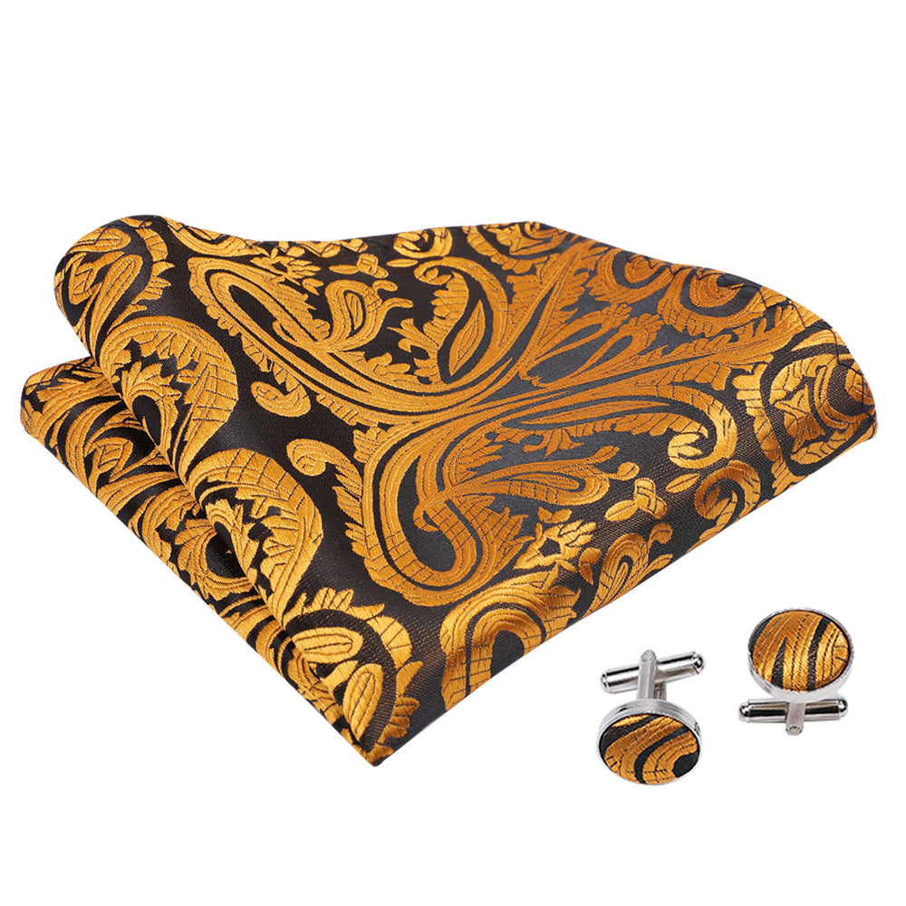 Brown Black Paisley Silk Cravat Woven Ascot Tie Pocket Square Handkerchief Suit Set (1930067804202)