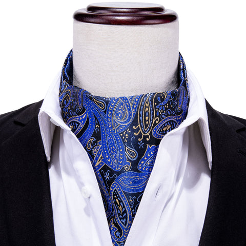 Blue Black Paisley Silk Cravat Woven Ascot Tie Pocket Square Handkerchief Suit Set
