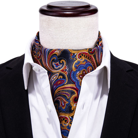 Blue Yellow Floral Silk Cravat Woven Ascot Tie Pocket Square Handkerchief Suit Set