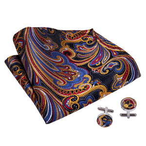 Load image into Gallery viewer, Blue Yellow Floral Silk Cravat Woven Ascot Tie Pocket Square Handkerchief Suit Set (1930068885546)
