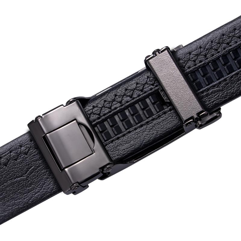 Letter M  Automatic Buckle Black Leather Belt