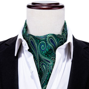 Load image into Gallery viewer, Green Blue Paisley Silk Cravat Woven Ascot Tie Pocket Square Handkerchief Suit Set