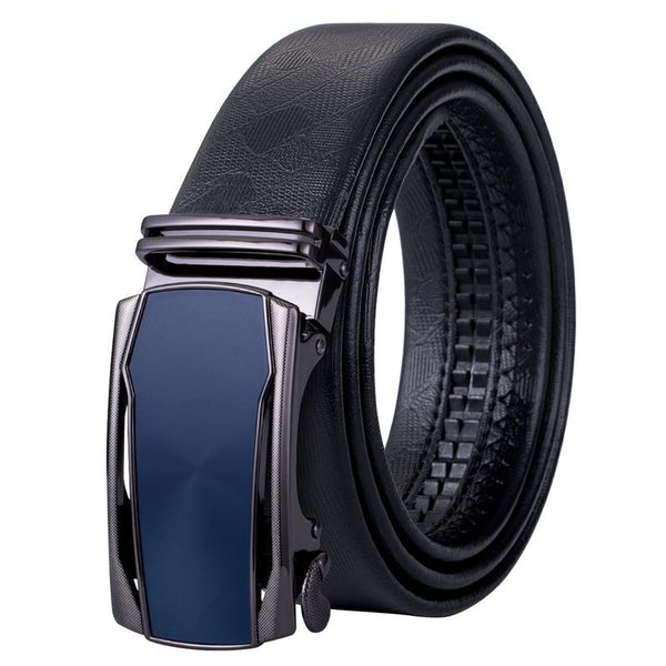 Fashion Blue Automatic Buckle Black Leather Belt