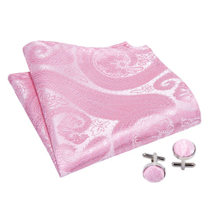Load image into Gallery viewer, Pink Paisley Silk Cravat Woven Ascot Tie Pocket Square Handkerchief Suit Set