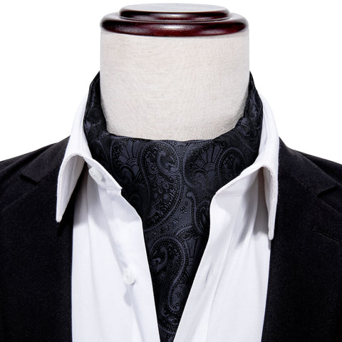 Black Paisley Silk Cravat Woven Ascot Tie Pocket Square Handkerchief Suit Set