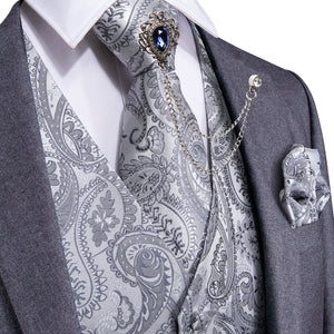 Load image into Gallery viewer, Men's Grey Paisley Jacquard Silk Vest Necktie Pocket square Cufflinks Gem Lapel Pin Set