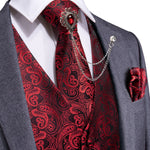 Men's Classic Deep Red Paisley Jacquard Silk Vest Necktie Pocket square Cufflinks Gem Lapel Pin Set