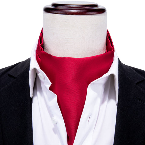 Red Solid Silk Cravat Woven Ascot Tie Pocket Square Handkerchief Suit Set