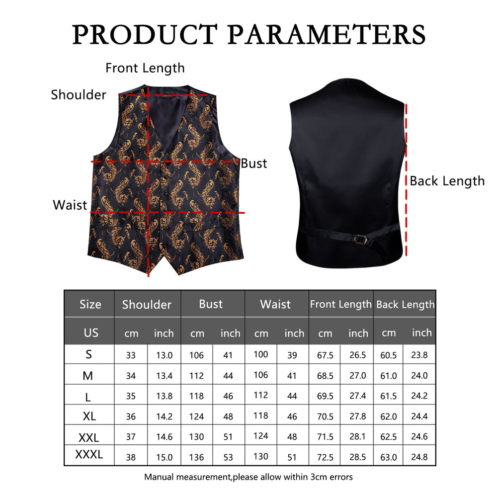 Load image into Gallery viewer, Black Gold Floral Jacquard Silk Waistcoat Vest Handkerchief Cufflinks Tie Vest Suit Set